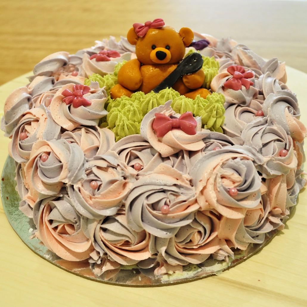 CustomFlowerCake-1030x1030 Pink & Purple flower cake with Teddy decoration