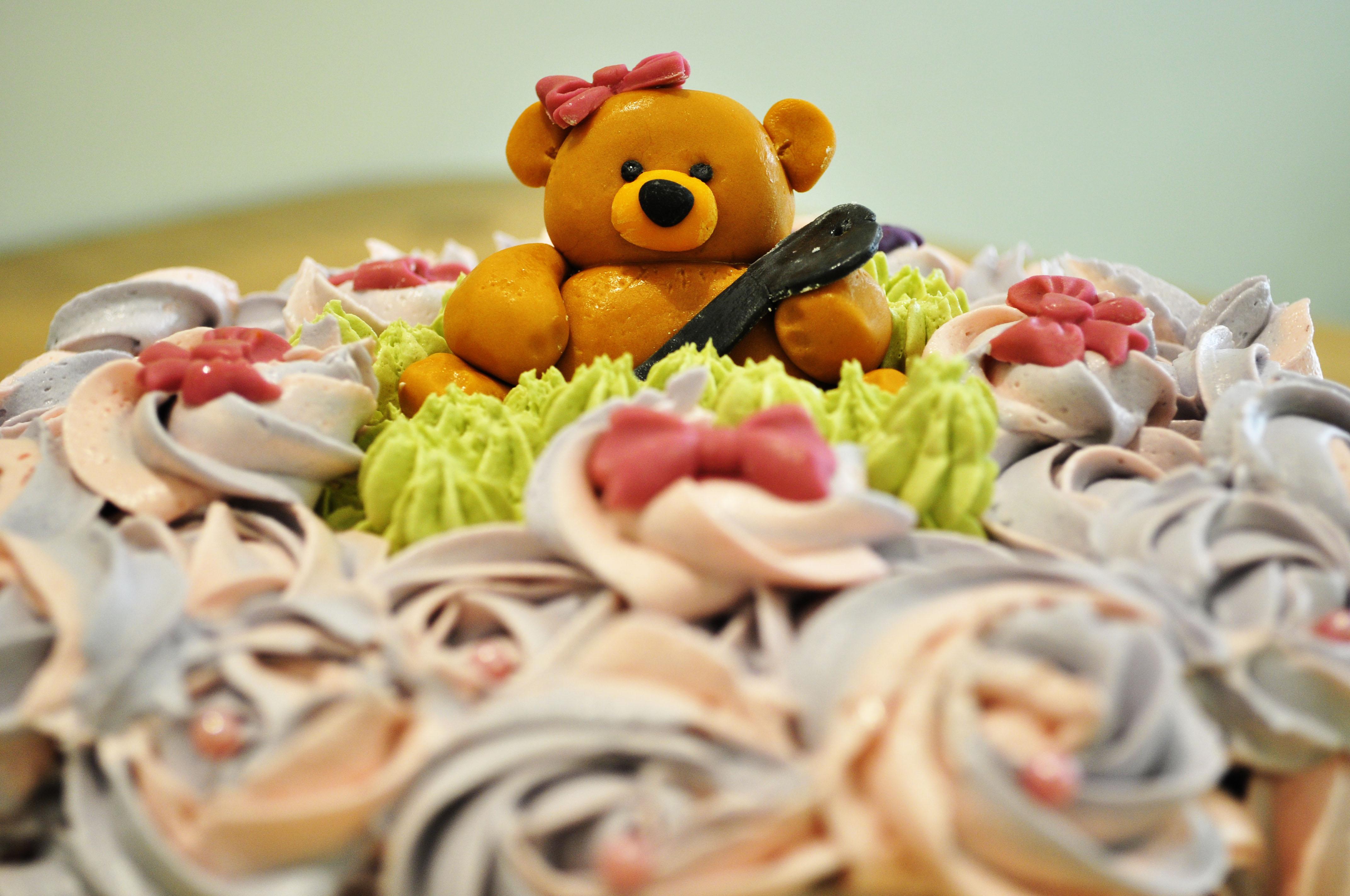FlowerCakeTeddy_03 Pink & Purple flower cake with Teddy decoration