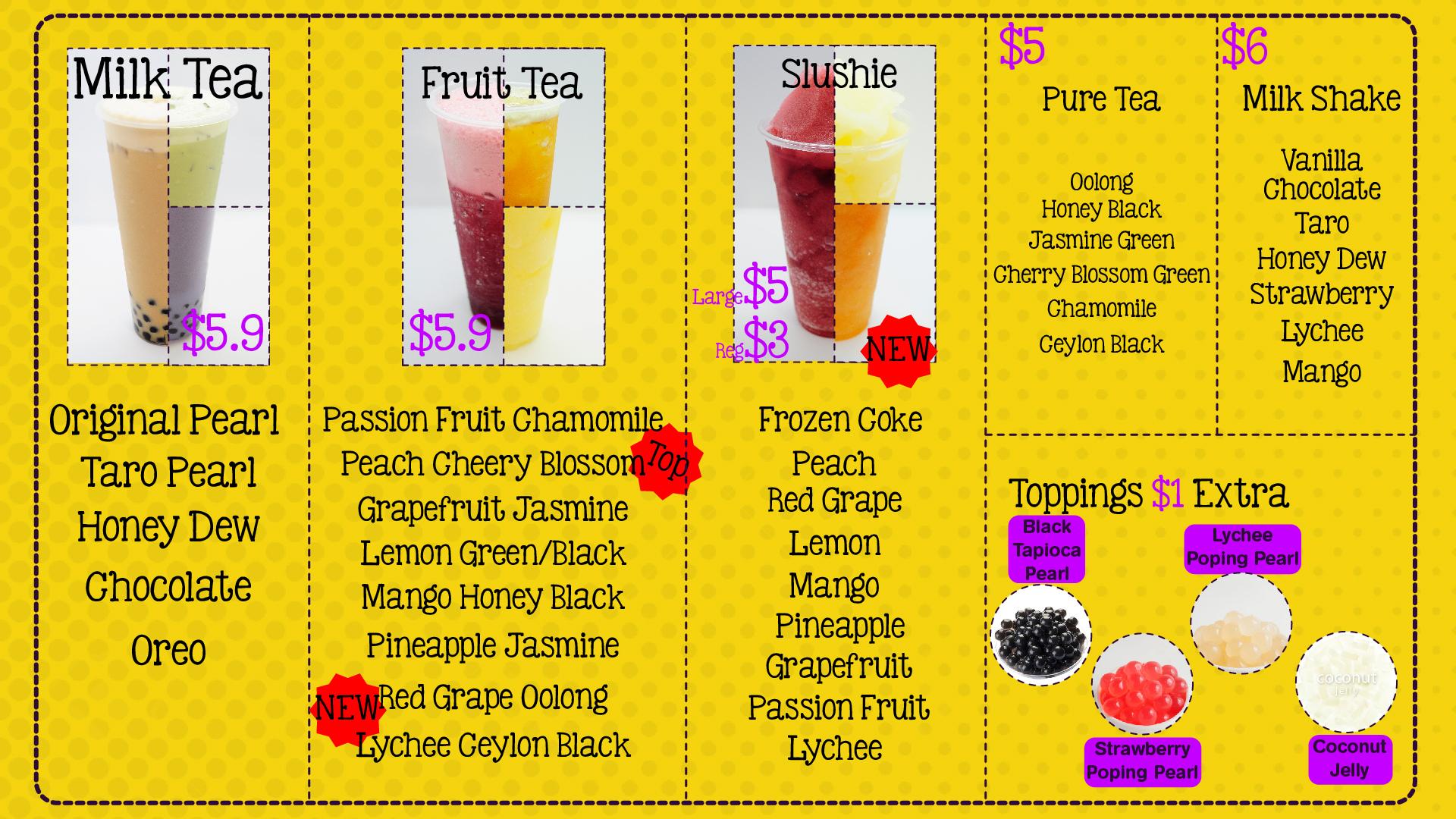 TVMenu-01 Bubble Tea & Drinks